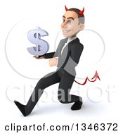 Clipart Of A 3d Young White Devil Businessman Holding A Dollar Currency Symbol And Speed Walking To The Left Royalty Free Illustration