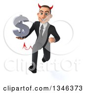 Clipart Of A 3d Young White Devil Businessman Holding A Dollar Currency Symbol And Sprinting Royalty Free Illustration