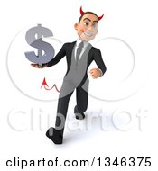 Clipart Of A 3d Young White Devil Businessman Holding A Dollar Currency Symbol And Speed Walking Royalty Free Illustration