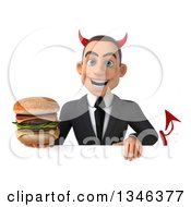Clipart Of A 3d Young White Devil Businessman Holding A Double Cheeseburger Over A Sign Royalty Free Illustration