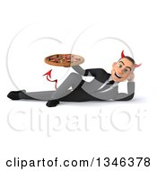 Clipart Of A 3d Young White Devil Businessman Holding A Pizza And Resting On His Side Royalty Free Illustration