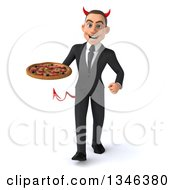 Clipart Of A 3d Young White Devil Businessman Holding A Pizza And Walking Royalty Free Illustration