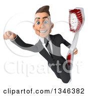 Clipart Of A 3d Young White Businessman Holding A Toothbrush And Flying Royalty Free Illustration by Julos