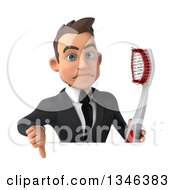 Clipart Of A 3d Young White Businessman Holding A Toothbrush And Giving A Thumb Down Over A Sign Royalty Free Illustration by Julos