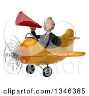 Clipart Of A 3d Young White Businessman Aviator Pilot Announcing With A Megaphone And Flying A Yellow Airplane Slightly To The Left Royalty Free Illustration
