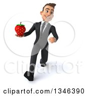 Clipart Of A 3d Young White Businessman Holding A Strawberry And Speed Walking Royalty Free Illustration