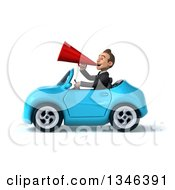 Clipart Of A 3d Young White Businessman Announcing With A Megaphone And Driving A Blue Convertible Car To The Left Royalty Free Illustration