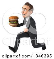 Clipart Of A 3d Young White Businessman Holding A Double Cheeseburger And Sprinting To The Left Royalty Free Illustration