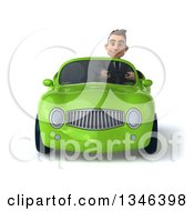 3d Young White Businessman Driving A Green Convertible Car