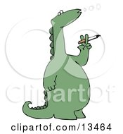Rebellious Green Dino Standing On Its Hind Legs And Blowing Out Circles Of Smoke While Smoking A Cigarette Clipart Illustration