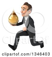 Clipart Of A 3d Young White Businessman Holding An Amber Medicine Drop And Sprinting To The Left Royalty Free Illustration