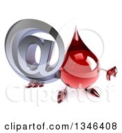 Clipart Of A 3d Hot Water Or Blood Drop Character Holding Up An Email Arobase At Symbol And Thumb Down Royalty Free Illustration