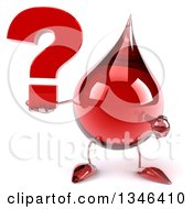 Clipart Of A 3d Hot Water Or Blood Drop Character Holding And Pointing To A Question Mark Royalty Free Illustration by Julos