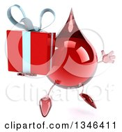 Clipart Of A 3d Hot Water Or Blood Drop Character Holding A Gift Facing Slightly Right And Jumping Royalty Free Illustration