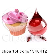 Clipart Of A 3d Hot Water Or Blood Drop Character Holding Up A Pink Frosted Cupcake Royalty Free Illustration