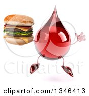 Clipart Of A 3d Hot Water Or Blood Drop Character Holding A Double Cheeseburger And Jumping Royalty Free Illustration