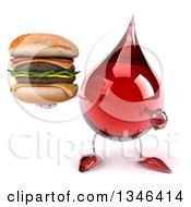 Clipart Of A 3d Hot Water Or Blood Drop Character Holding And Pointing To A Double Cheeseburger Royalty Free Illustration