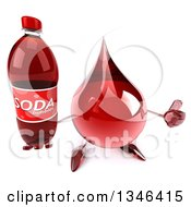 Clipart Of A 3d Hot Water Or Blood Drop Character Holding Up A Thumb And Soda Bottle Royalty Free Illustration
