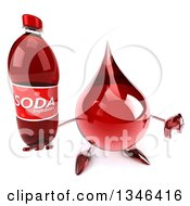 Clipart Of A 3d Hot Water Or Blood Drop Character Holding Up A Thumb Down And Soda Bottle Royalty Free Illustration
