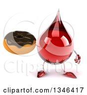 Clipart Of A 3d Hot Water Or Blood Drop Character Holding A Chocolate Glazed Donut Royalty Free Illustration