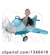 Clipart Of A 3d Young Black Businessman Aviator Pilot Flying A Blue Airplane Slightly To The Left Royalty Free Illustration