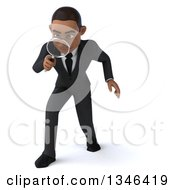 Clipart Of A 3d Young Black Businessman Looking Down And Searching With A Magnifying Glass Royalty Free Illustration