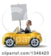 Clipart Of A 3d Young Black Businessman Holding A Blank Sign And Driving A Yellow Convertible Car To The Left Royalty Free Illustration