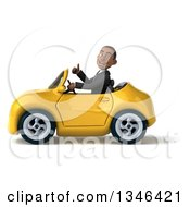 Clipart Of A 3d Young Black Businessman Giving A Thumb Up And Driving A Yellow Convertible Car To The Left Royalty Free Illustration