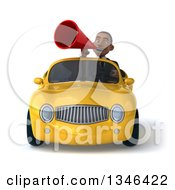 Clipart Of A 3d Young Black Businessman Announcing With A Megaphone And Driving A Yellow Convertible Car Royalty Free Illustration