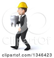 Clipart Of A 3d Young White Male Architect Holding A Tooth And Walking To The Left Royalty Free Illustration