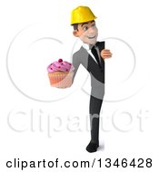 Clipart Of A 3d Full Length Young White Male Architect Holding A Pink Frosted Cupcake And Looking Around A Sign Royalty Free Illustration