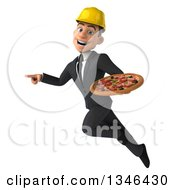 Clipart Of A 3d Young White Male Architect Holding A Pizza Flying And Pointing Royalty Free Illustration