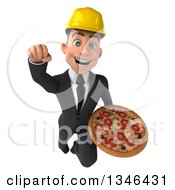 Clipart Of A 3d Young White Male Architect Holding A Pizza And Flying Forward Royalty Free Illustration