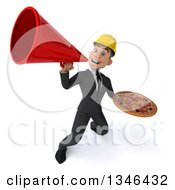 Clipart Of A 3d Young White Male Architect Holding A Pizza And Announcing Upwards With A Megaphone Royalty Free Illustration