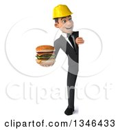 Clipart Of A 3d Full Length Young White Male Architect Holding A Double Cheeseburger And Looking Around A Sign Royalty Free Illustration