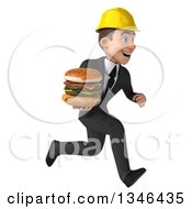 Clipart Of A 3d Young White Male Architect Holding A Double Cheeseburger And Sprinting To The Right Royalty Free Illustration