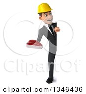 Clipart Of A 3d Full Length Young White Male Architect Holding A Beef Steak And Looking Around A Sign Royalty Free Illustration