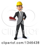 Clipart Of A 3d Young White Male Architect Holding A Beef Steak Royalty Free Illustration