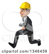 Clipart Of A 3d Young White Male Architect Sprinting To The Left With A Dumbbell Royalty Free Illustration