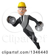 Clipart Of A 3d Young White Male Architect Flying And Working Out With Dumbbells Royalty Free Illustration