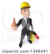 Clipart Of A 3d Young White Male Architect Holding Up A Thumb And Shopping Bags Royalty Free Illustration