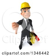 Clipart Of A 3d Young White Male Architect Holding Up A Thumb Down And Shopping Bags Royalty Free Illustration