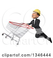 Clipart Of A 3d Young White Male Architect Flying Up To The Left With A Shopping Cart Royalty Free Illustration