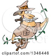 Cartoon Caucasian Male Adventurer Explorer Swinging On A Vine Biting A Knife In His Teeth