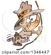 Clipart Of A Cartoon Caucasian Explorer Adventurer Boy Swinging From A Rope Royalty Free Vector Illustration