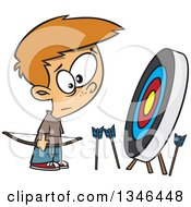 Clipart Of A Cartoon White Archery Boy With Many Missed Arrows Around A Target Royalty Free Vector Illustration