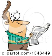 Clipart Of A Cartoon Brunette Caucasian Man Reading Terrible News In The Paper Royalty Free Vector Illustration