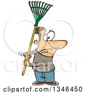 Cartoon Brunette Caucasian Man Ready To Fight With A Rake