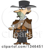 Clipart Of A Cartoon Caucasian Male Drifter Smoking A Cigar Royalty Free Vector Illustration