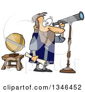 Clipart Of A Cartoon Man Gallileo Looking Through A Telescope Royalty Free Vector Illustration